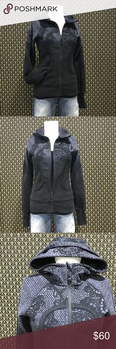 Lululemon Coal Black Orbit Lace Print Limited This limited edition scuba originally came with button on fur cuffs and zip on fur trim for the hood.  Those are gone so not included with this jacket.  Other than the missing accessories, the jackets in great condition.  No stains, tears, pilling, etc.  size dot in pocket confirms size 4.  No trades.  Only 5500 of these ever made. lululemon athletica Jackets & Coats