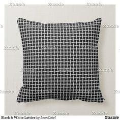 Shop Black Small White Lattice Pattern Throw Pillow created by LeonOziel. Decorative Throw Pillows, Black And White, Home, Accent Pillows, Black N White, Black White, Ad Home, Homes, Decor Pillows