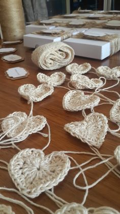 crochered hearts for the wedding invitations