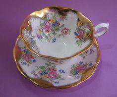ROYAL ALBERT TEA CUP & SAUCER LOW AVON STYLE ~ FLORAL GOLD BEAUTY! #ROYALALBERT