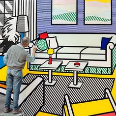 An integral figure of the Pop Art movement, Roy Lichtenstein emerged as one of the preeminent artists of the and Building a massive collection of vibrant pieces, Lichtenstein's work was heavily influenced by comic book aesthetics and popular… Roy Lichtenstein, Jasper Johns, Saatchi Gallery, Pop Art, Andy Warhol, Artist Art, Artist At Work, Artist Painting, Illustrations