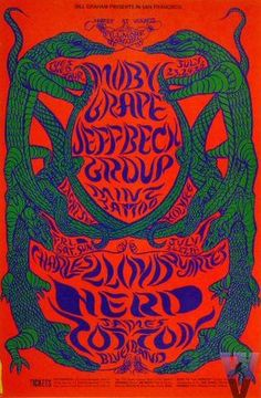 Eastern influence dominated this Conklin poster in which slithering serpents split three-night stands of Moby Grape, Jeff Beck, Mint Tattoo and the Charles Llo. Rock Posters, Band Posters, Victor Moscoso, Fillmore West, Vintage Concert Posters, Music Drawings, Psychedelic Rock, Antique Dolls, Hippy