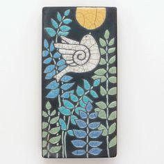 Bird ceramic  bird wall art handmade raku fired art by DavisVachon, $38.00