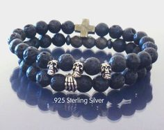 Mens beaded skull bracelet Black lava mala by EmpathyGifts on Etsy