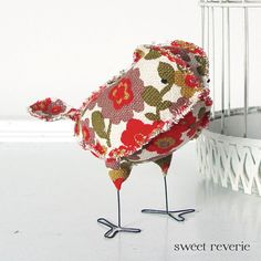 Vera the Soft Sculpture Textile Fabric Bird by asweetreverie