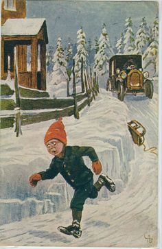 Julekort Andreas Bloch tidlig 1900-tall Christmas Cards, Hipster, Painting, Art, Style, Kunst, Christmas E Cards, Art Background, Swag