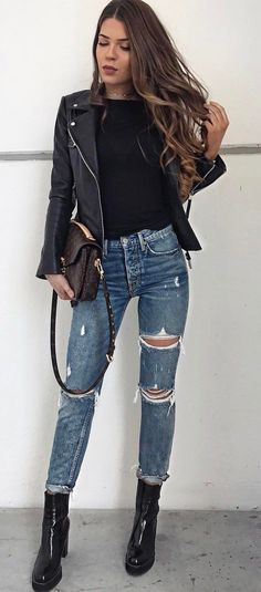 black and denim | top + bag + jacket + ripped jeans + boots
