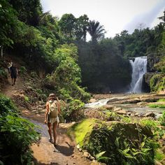 Heading for a swim at the Tegenungan Waterfall, Bali, Indonesia with the Kilimanjaro Photo by If you're looking to travel here, check out her tips and photo album on her bio link. Farm Landscaping, Waterfall Paintings, Germany Castles, Landscape Architecture Design, Need A Vacation, Mountain Hiking, Hiking Trails, Romania, Adventure Travel