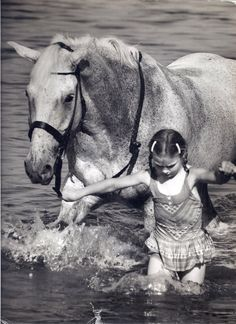 Snowman Book About a Horse | The de Leyer children loved to swim Snowman in the Long Island Sound ...