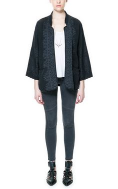 Zara TRF - black embroidered kimono, €49.95