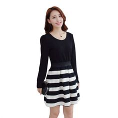 Women Fashion Ladies Cute Sweet Wearing Black White Striped Stitching Lovely Dress