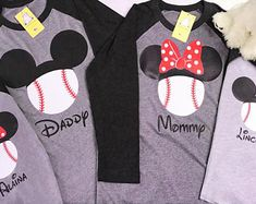 Custom Disney Mickey Baseball Heads on Heather Grey Raglan Shirts with 3/4 Length Black Sleeves - Optional Back Pressing