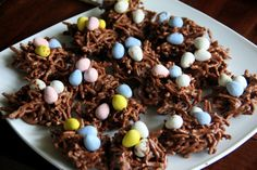 Bird's Nest Cookies. Mix up the cookies and have your kid help by placing the candy eggs in each nest! A fun (and delicious) activity for you and your children to do together this #Easter!