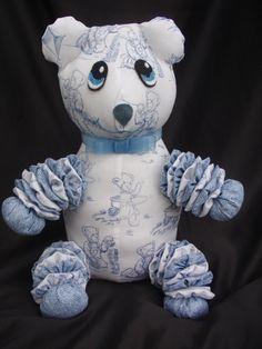 14 Blue Jean Teddy Bear Toile and Denim Yo Yo Bear by SursyShop, $40.00