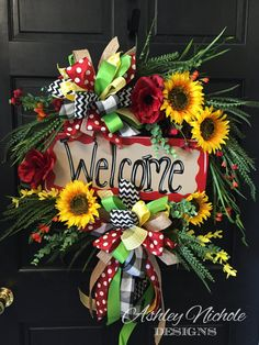 Welcome Wreath Door Decoration Summer Door by DesignsAshleyNichole Diy Wreath, Grapevine Wreath, Wreath Ideas, Wreath Crafts, Fall Wreaths, Christmas Wreaths, Mesh Wreaths, Floral Wreaths, Summer Door Decorations