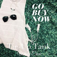 White Crow tie-up tank and Towne & Reese necklace are the perfect pair. Add our sunglasses for only $14.95! #ShopGeezLouise #Tank #summer