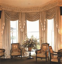 One of the first things you do when you remodel or move into a new home is change the curtains. After all, new window treatments easily, quickly, and inexpensively transform a room. - Check Out THE PICTURE for Many Ideas for Living Room Window Treatments. Cheap Curtains, Custom Curtains, Curtains With Blinds, Silk Curtains, Burlap Curtains, Bay Window Treatments, Window Coverings, Bay Window Drapes, Bay Windows