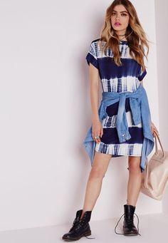 Tie Dye Stripe T-shirt Dress Blue - Dresses - T-Shirt Dresses - Missguided