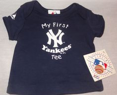 New Blue My First New York Yankee Tee MLB Majestic Babies Size 6-9 Months  #Majestic #NewYorkYankees