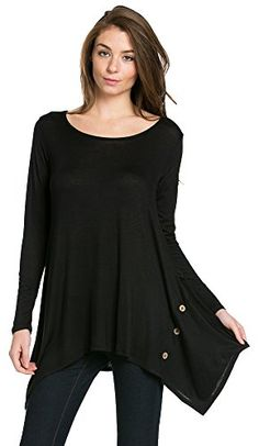 My Space Clothing Women's Scoop Neck Long sleeve Handkerchief Button Detail Tunic - Made in USA (Small, Black) My Space Clothing http://www.amazon.com/dp/B01BO7OQG6/ref=cm_sw_r_pi_dp_qxIVwb0TFMD64