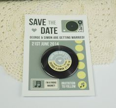 Wedding Save The Date Magnets  Vintage Vinyl by LoveMeDoDesign, £100.00