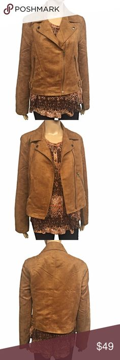 Faux Suede Moto Jacket This is a faux suede Moto jacket. Zippered pockets. Camel color. New with tags, never worn. Measurements taken laid flat: 17 inches shoulder to shoulder. 19 inch bust. 18 inch waist. 19 inch hips. 19 inches shoulder to hem. Buy it with the Miss Me tank and get 15% off! Jack Jackets & Coats
