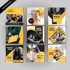 Mídias sociais postar modelos Vetor Premium Web Design, Layout Design, Graphic Design Layouts, Social Media Design, Graphic Design Inspiration, Banner Design, Book Design, Instagram Feed Layout, Instagram Banner