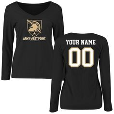 Army Black Knights Women's Personalized Basketball Slim Fit Long Sleeve T-Shirt - Black