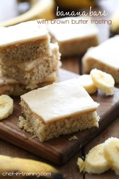 Banana Bars with Brown Butter Frosting from chef-in-training.com …These bars are so soft and delicious! The perfect way to use up some ripe bananas!