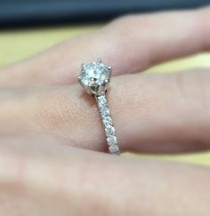 A beautiful engagement ring with diamonds on the shoulders. #thediamondstoreuk #engagementring #ring #diamonds