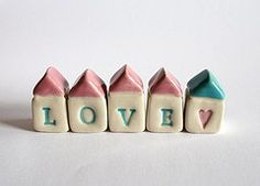LOVE Little House Village - pink blue white Porcelain Clay, Ceramic Clay, Cold Porcelain, Clay Houses, Ceramic Houses, Miniature Houses, Clay Projects, Clay Crafts, Clay Magnets