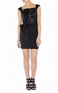 Karen Millen sundress uk-Karen Millen DL006 Black Pleated Peplum Dress :
