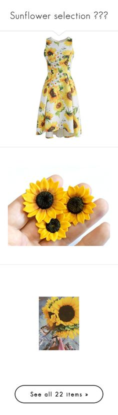 """""""Sunflower selection ☀️🌻"""" by kitten-cutie ❤ liked on Polyvore featuring dresses, yellow, sunflower dress, sunflower print dress, sunflower yellow dress, waterfall dress, yellow dress, accessories, hair accessories and flower hair pins"""