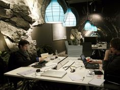 This tunnel-like meeting room in Zurich looks like a cool and mysterious cavern — although it's clearly not meant for the claustrophobic.