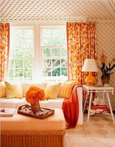 Fun Living Room Home Theaters Orange Curtains Rooms