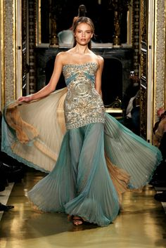 Zuhair Murad haute couture spring summer 2007-turquoise and gold dress (1)