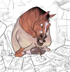 In his recent drawings artist Ramón Nuñez has shown animals in a comical scene. Comic Kunst, Comic Art, Art And Illustration, Pretty Art, Cute Art, Cartoon Drawings, Animal Drawings, Character Drawing, Creature Design