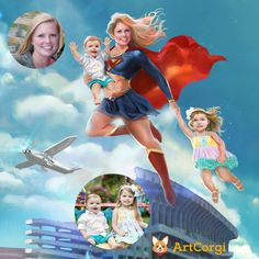 Super Mom by Bloodyman88 Before and After via ArtCorgi -- Commission |  commissioned art |  commissioned anime |  family portraits |  anniversary gifts |  illustrations |  painting |  drawing |  before and after |  commissions |  hire an artist |  anime |  manga |  cartoon |  realism |  realistic |  artcorgi |romantic gifts | romantic portrait | couple portrait | anime commission | cartoon commissions | comic commissions