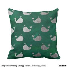 Deep Green Woody Grungy Silver Whale Throw Cushions