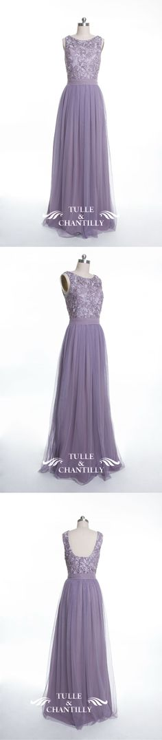 lavender tulle and lace bridesmaid dresses long