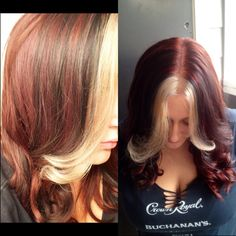 Dark red with black and blonde highlights. Love!