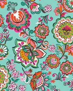 Turquoise | orange, red, yellow, green | colourful | floral print