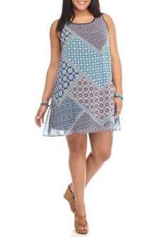 Lily White  Plus Size Americana Mix Print Dress