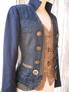 Idea for refashioned jacket; add giant buttons in a mix of different ones, by: Indalia Fashion. Upcycle, Recycle, Salvage, diy, thrift, flea, repurpose, refashion! For vintage ideas and goods shop at Estate ReSale & ReDesign, Bonita Springs, FL