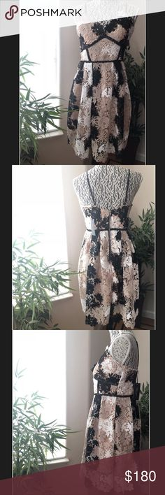 Romeo & Juliet Couture lace women's dress size M Women's 👗 Brand: Romeo & Juliet Couture Size: Medium Color: Beige  Material: Shell: 100% polyester. Lining: 100% Polyester Care: Dry Clean only MSRP: $240 Product Details: Floral-lace design. Embroidery cutout details. Scalloped V-neckline. Empire waist. Sleeveless. Adjustable spaghetti straps. Open back w/partial back-zip closure. Pleated skirt. Contrast lining. Flared hemline. Scalloped hem. Made in China Approximate Measurements:  Waist…