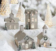 German Glitter Village.  Benefiting Give a Little Hope campaign through Pottery Barn #glitterhouse #putz