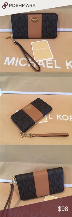 🌟Michael Kors Center Stripe Brown/acorn🌟 100% Authentic Mihael Kors Center Stripe JST LG Coin Multifunction Phone Case🌹Michael Kors Center Stripe signature large phone case  Coin compartment Canvas coated and leather M K brass name plate  Zip Around Cell phone pocket  Measures 7 wide by 4 inches tall when closed Zip around closure  Removable wrist strap 3 credit card slots Center zipper  Bill pocket Michael Kors Bags Wallets