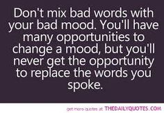 """Don't mix bad words with your bad mood. You'll have many opportunities to change a mood, but you'll never get the opportunity to replace the words you spoke."" I often choose to excuse myself and walk away. Clear my mind and then address the situation. Anger leads nowhere but rather hurts those around you. Those you supposedly care for."