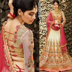 SALE SALE SALE!! OFF UPTO 70%! Floral Collection from IWS!  #CreamColor #Pink #FloralMotif #Volume #Layers #Embroidery #Designer #Lehenga #Brown #Occasion #IndianDresses #Partywears #Indian #Women #Bridalwear #Fashion #Fashionista #OnlineShopping