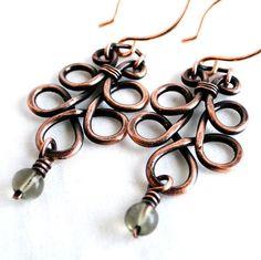 Wire Wrapped Jewelry, Copper Wire, Grey Glass Beads, Chandelier Earrings